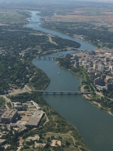 "Our ""city of bridges."" The South Saskatchewan River runs through Saskatoon."